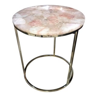 Contemporary Caracole Classic Round Rose Quartz Accent Table For Sale