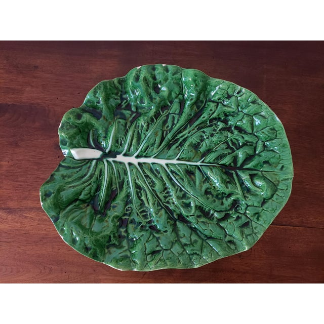 Green Bordallo Pinheiro Majolica Cabbage Ware Platter For Sale - Image 8 of 8