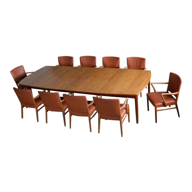 Fritz Hansen Attributed Large Conference or Dining Table Set Eight Chairs For Sale