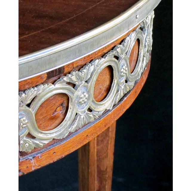 Traditional Elegant French Louis XVI Style Mahogany Circular Side Table With Brass Mounts For Sale - Image 3 of 7