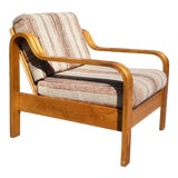 Image of Vintage Mid Century Modern Bentwood Oak Lounge Chair Arm Chair Taylor Ramsey For Sale