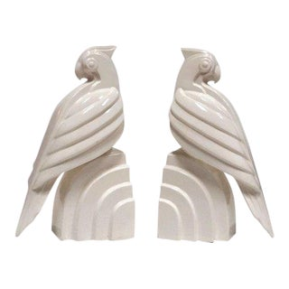 Fitz & Floyd Mid-Century Modern Parrot Bookends - a Pair For Sale