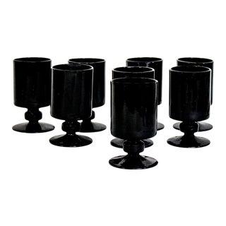 Vintage Black Glass Juice Glasses - Set of 8 For Sale
