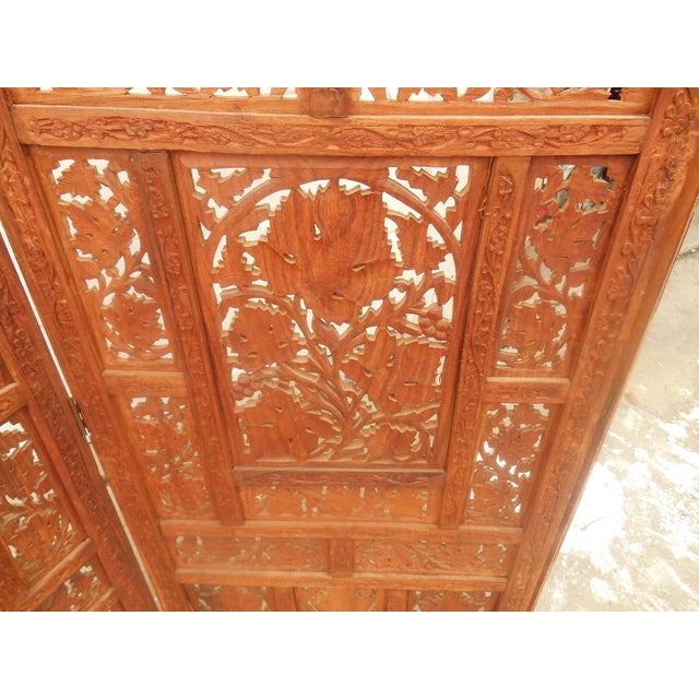 Solid Teak Pierce Carved Room Divider For Sale - Image 4 of 4