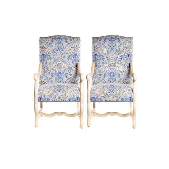 Early 21st Century Louis XIII Style Upholstered Arm Chairs- A Pair For Sale - Image 9 of 9