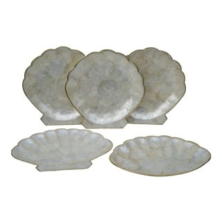 Vintage Capiz Shell Serving Platters - Set of 5
