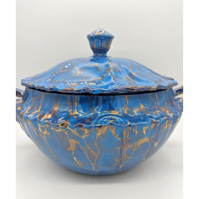Late 20th Century 20th Century Contemprary Blue and Gold Ceramic Soup Tureen For Sale - Image 5 of 9