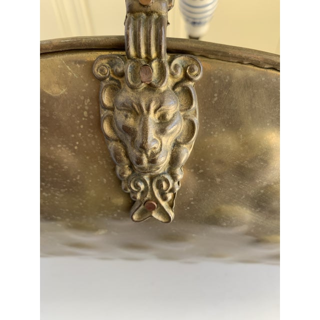 Blue Vintage Brass Lion Head Log or Magazine Vessel For Sale - Image 8 of 12