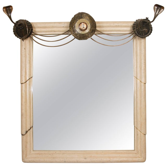 Art Deco Mirror With Edgar Brandt Decoration For Sale