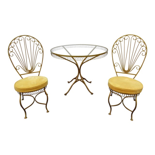 Vintage Hollywood Regency Bistro or Patio Set by Thinline For Sale