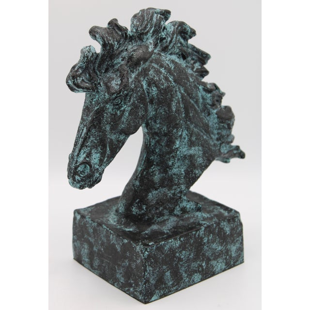 Mid-Century Modern Verdigris Wild Mustang Horse Head Statue For Sale - Image 3 of 13