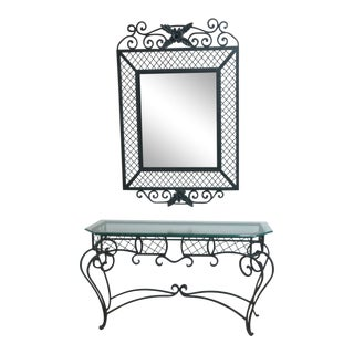 Ethan Allen Wrought Iron Glass Top Mirror & Console Table For Sale