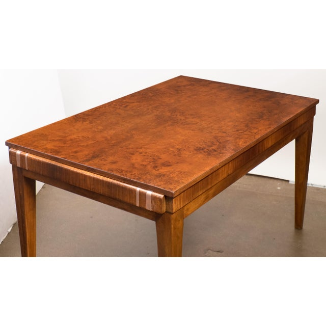 French Art Deco Burled Elm Table - Image 6 of 9