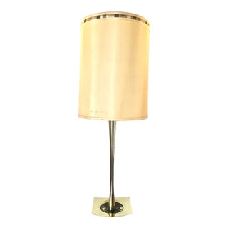 1960s Brass MCM Lamp + Shade For Sale