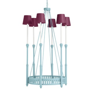 Camilla Chandelier, Blue Stream with Grape Juice Shades For Sale
