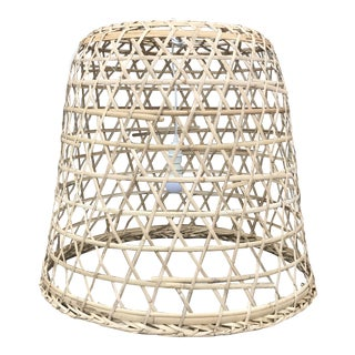 Natural Rattan Open Weave Cane Bell Pendant Lamp For Sale