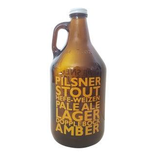 Mid Century Typographic Pop Art Brown Glass Beer Jug