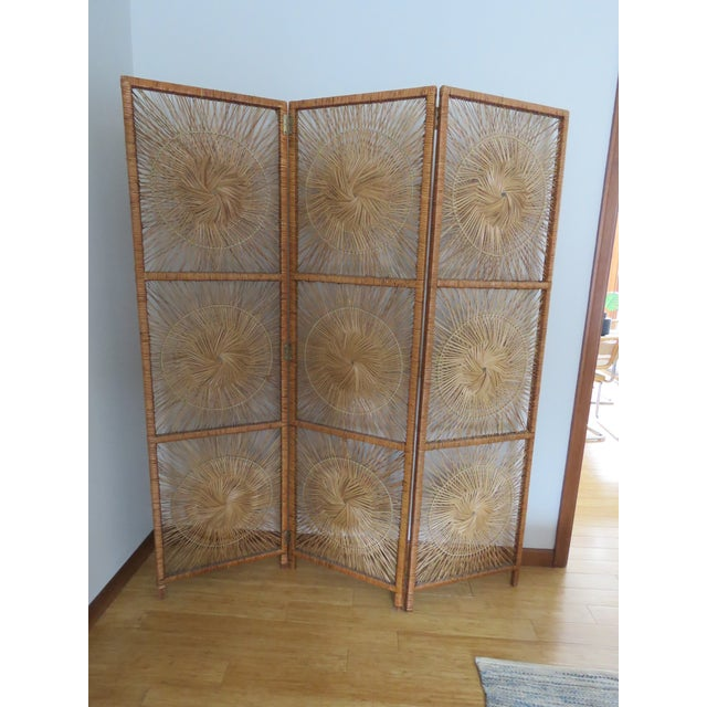 f18b6cd880ff9 Vintage wicker rattan folding room divider screen. This unique 3-panel  screen features a