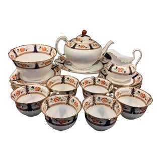 Vintage 1920s English Tuscan China for Lawley's Norfolk Pottery Stoke Tea Service for 6