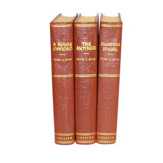 1930's Burgundy and Gold Pearl S. Buck Books - Set of 3
