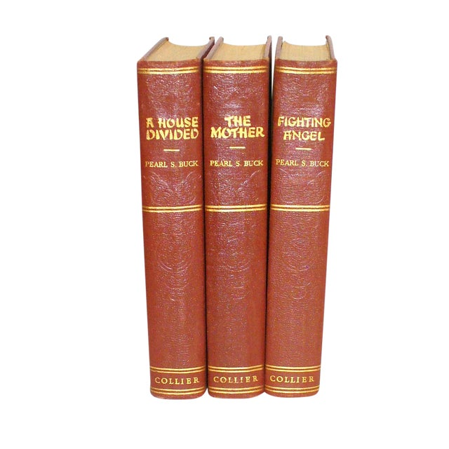 1930's Burgundy and Gold Pearl S. Buck Books - Set of 3 For Sale