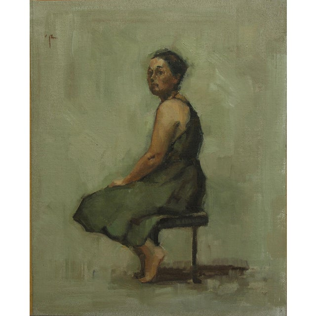 "Textile Rubino Framed Oil Painting ""Green Frock"", Contemporary Figure Portrait For Sale - Image 7 of 7"