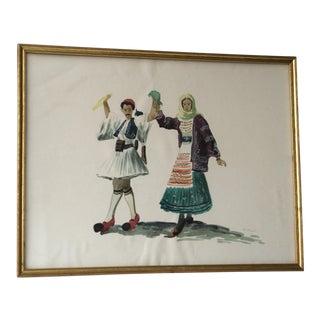 """""""Folk Dancers"""" Vintage Water Color Painting For Sale"""