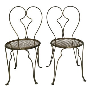 French Brass Bistro Chairs - A Pair