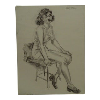 "1949 Mid-Century Modern Original Drawing on Paper, ""Lingerie and Shoes"" by Tom Sturges Jr For Sale"
