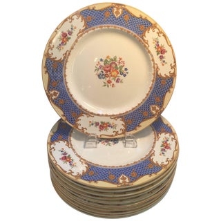 20th Century Edwardian Hand-Painted English Service Plates - Set of 10 For Sale