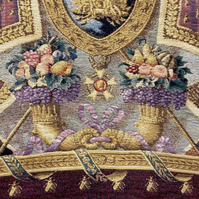 Large Tapestry Coat of Arms With Golden Eagle For Sale - Image 4 of 6