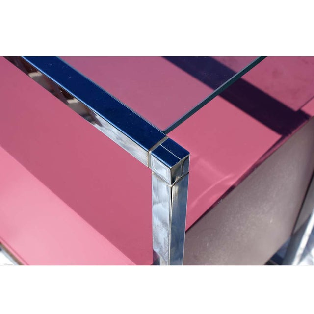 1970s 1970s Mid-Century Modern Chrome and Pink Lacquer Bar Cabinet For Sale - Image 5 of 7