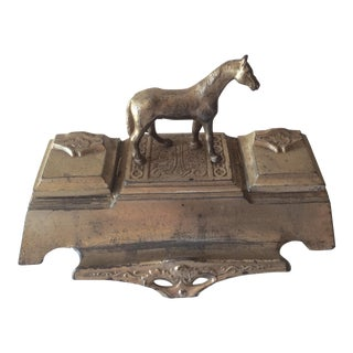 Vintage French Equestrian Inkwell
