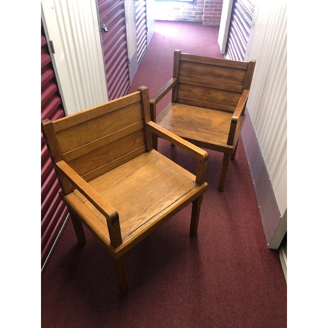 1970s Rustic Wood Side Chairs - a Pair For Sale - Image 10 of 10