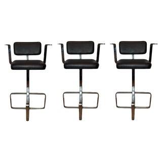 1980s Modern Italian Swivel Chrome Leather Bar Stools- Set of 3 For Sale
