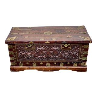 Early 19th Century Anglo Indian Carved Hardwood and Brass Inset Chest For Sale