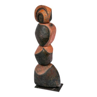 French Ceramic Totem Sculpture For Sale