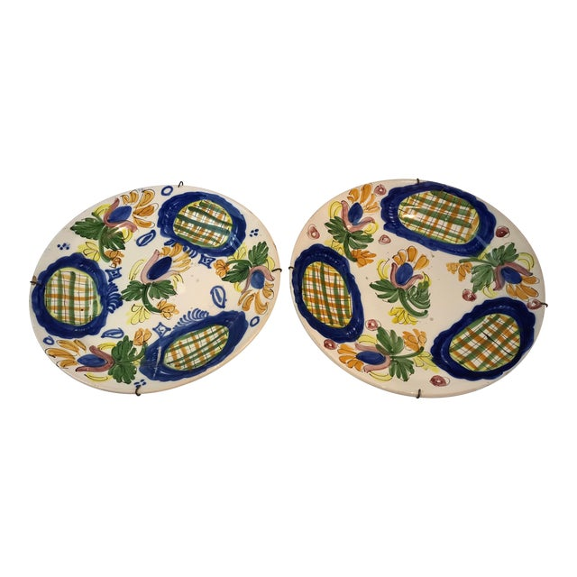 19th Century Country Dutch Gaudy Faience Plates - a Pair For Sale