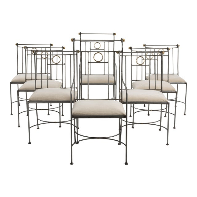 1970s Italian Mid-Century Steel Brass Dining Chairs - Set of 8 For Sale