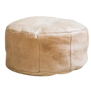 Antique Revival Nude Leather Pouf Ottoman