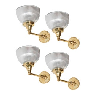 Set of Four American Classical Brass and Halophane Glass Sconces For Sale
