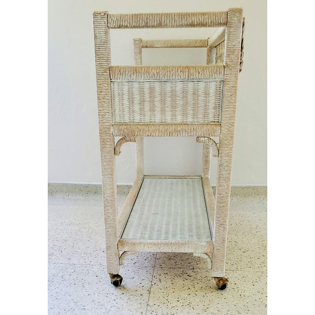 Mid 20th Century Vintage Henry Link Wicker Rolling Bar Cart For Sale - Image 5 of 7