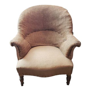 18th Century Traditional Louis Phillipe Burlap Armchair For Sale