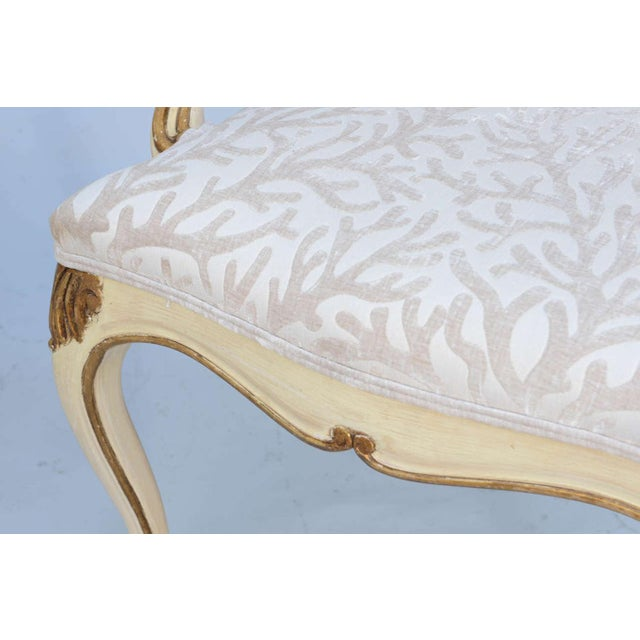 Pair of Painted & Parcel Gilt Armchairs For Sale - Image 9 of 9