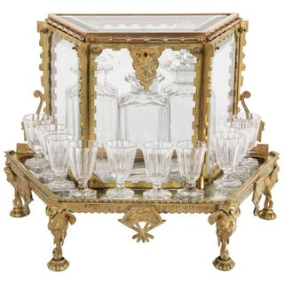 French Aesthetic Movement Baccarat Crystal and Bronze Tantalus For Sale