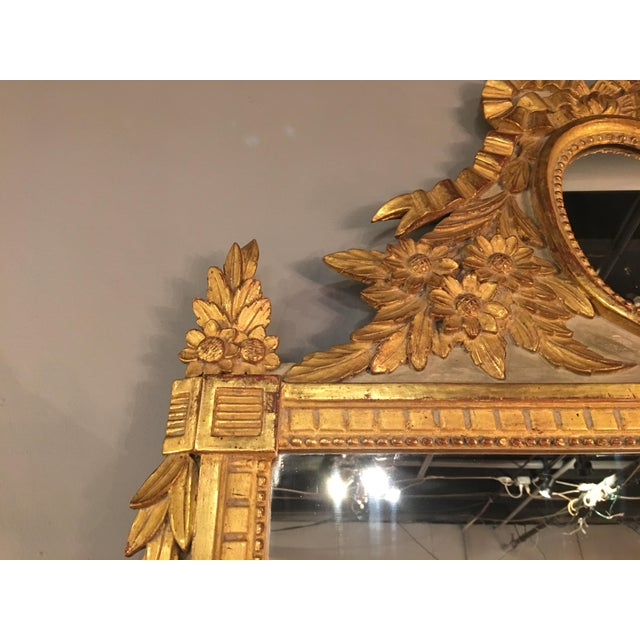 Louis XVI Style Painted and Gilded Mirror For Sale - Image 4 of 11