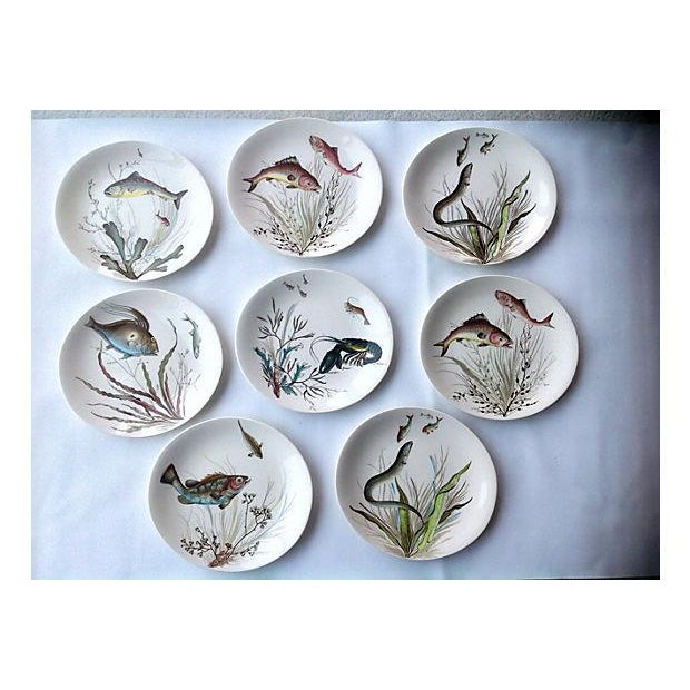 """This is a set of eight different Johnson Bros. fish motif dinner plates. They are marked """"Fish Johnson Bros Made in..."""