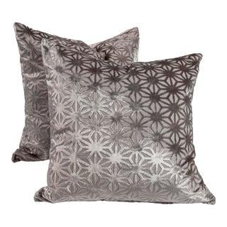 """22"""" Romo Geodesic Patterned Metallic Cut Velvet Pillows, Pair For Sale"""