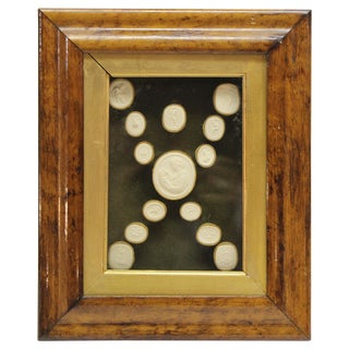 Collection of 14 Grand Tour Intaglios in Original Fruitwood Frame For Sale