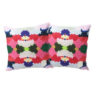 Colorful World Linen Pillows - A Pair For Sale
